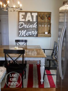 Lake Girl Paints: EAT Drink and be Merry Marquee Sign and Wine Storage