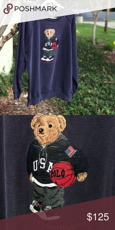 d4db850ba Polo Bear Street Bear Crewneck Sweater 🔥 Rare True 90s Vintage Polo Bear  By Ralph Lauren