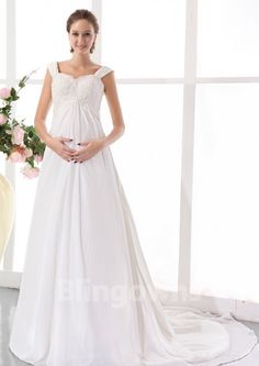 Sweep Straps Ruched Chiffon Appliques Zipper A-line Sleeveless White Maternity Wedding Dresses