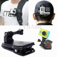 360° backpack hat mount clip #clamp for sony action cam #xiaoyi gopro #sport cam,  View more on the LINK: http://www.zeppy.io/product/gb/2/311646606154/