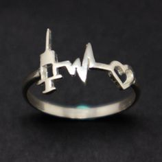 Silver Anesthesiologist Heartbeat Ring Nurse Anesthetist