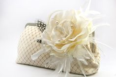 Champagne Bridal Feather Clutch with Ivory Velvet Flower by ANGEEW, $75.00