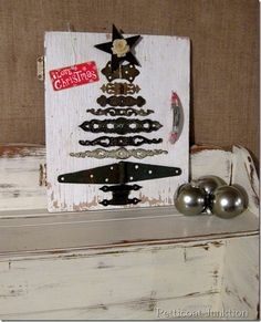 DIY Christmas Decorations | Turn old hardware into a unique Christmas tree sign!