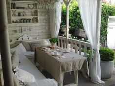 q i have posted few pics of my terrace, container gardening, outdoor living, patio, tone on tone shabby chic pots with full foilage Outdoor Rooms, Outdoor Dining, Outdoor Furniture Sets, Outdoor Decor, Indoor Outdoor, Outdoor Seating, Shabby Chic Homes, Shabby Chic Decor, Gazebos