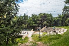 Sygrou Park is located on Kifissias Avenue at the border of the municipalities of Kifissia, Maroussi and Melissia. Garden Bridge, Athens, Acre, Golf Courses, Greek, Outdoor Structures, Island, Country, City