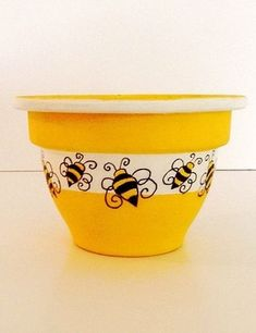 Hand Painted Clay Pot - HONEY BEE sold on Etsy