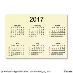 52 Week 2017 Eggshell Calendar by Janz Large Business Card