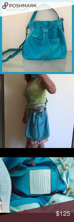 Spotted while shopping on Poshmark: COACH Deep Teal Leather Drawstring Bucket Bag! #poshmark #fashion #shopping #style #Coach #Handbags