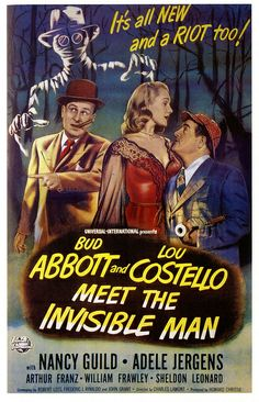 Abbott and Costello Meet The Invisible Man, 1951. #vintage #1950s #movies #posters #Halloween