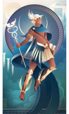 Hermes ~ Greek Gods and Goddesses by Yliade on DeviantArt Greek And Roman Mythology, Greek Gods And Goddesses, Hermes Mythology, Character Art, Character Design, Greek Pantheon, Goddess Art, Moon Goddess, Fantasy