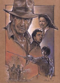 Preliminary sketch for Indy IV poster (unused) by Drew Struzan.  #indianajones, #drewstruzan