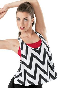 Cute black and white chevron racerback tank. perfect for layering over colored bra tops for class.