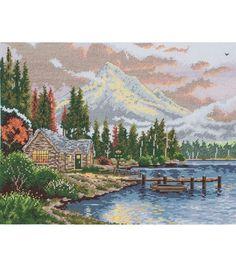 "Thomas Kinkade Lakeside Hideaway Counted Cross Stitch Kit-9-3/4""X12-1/2"" 18 Count"
