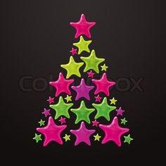 Christmas tree made of stars - vector