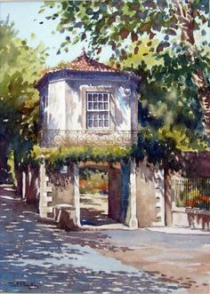 - watercolor by Jasmine H. Watercolor Pictures, Watercolor Artists, Watercolor Techniques, Watercolor Illustration, Watercolour Painting, Watercolors, Watercolor Architecture, Watercolor Landscape, Landscape Art