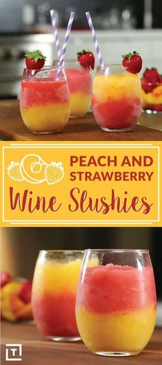 """Strawberry Peach Wine Slushies Are Perfect for Summer This Strawberry Peach Wine Slushies recipe screams """"Summer""""!This Strawberry Peach Wine Slushies recipe screams """"Summer""""! Cocktail Fruit, Cocktail Recipes, Alcohol Drink Recipes, Wine Recipes, Refreshing Drinks, Yummy Drinks, Good Cocktails, Peach Wine, Peach Moscato"""