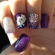 """Though a bit """"much"""" for me, with both the flower, ring finger rhinestones, and glitter, I still like this..."""