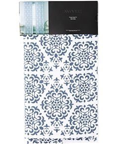 envogue blue gemstone damask floral scrolls medallions pair window curtain panels 50 by 96inch