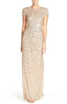 Main Image - Adrianna Papell Short Sleeve Sequin Mesh Gown (Regular & Petite)