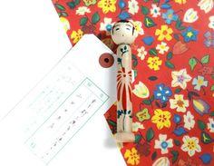 Wooden Kokeshi doll Messenger. by niconecozakkaya on Etsy