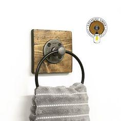 Rustic Industrial Hand Towel Bar on Wood Bathroom Decor | Etsy