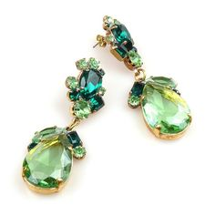 Fountain Earrings for Pierced Ears ~ Green with Emerald. Amazing earrings for pierced ears designed from large pear shape rhinestones. $18.90