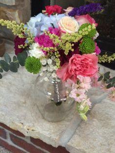 """June 2015 Bridesmaid's """"Surprise"""" Bouquet"""".....in progress...Love the colors!!!"""