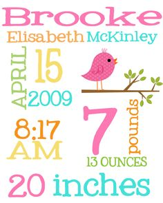 Custom Personalized Subway Art Birth Announcement Print 8x10: Pefect gift for new baby, first birthday, baptism and more.