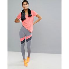 Under Armour Mirror Stripe Leggings (3,930 DOP) ❤ liked on Polyvore featuring activewear, activewear pants, grey, under armour, under armour sportswear and tall activewear