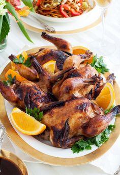 Roasted Cornish Game Hens with Orange Teriyaki Sauce / gluten-free, dairy-free recipe