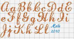 LauraSscript Crochet Alphabet, Alphabet Charts, Embroidery Alphabet, Alphabet And Numbers, Embroidery Fonts, Cross Stitch Letters, Cross Stitch Charts, Cross Stitching, Cross Stitch Embroidery
