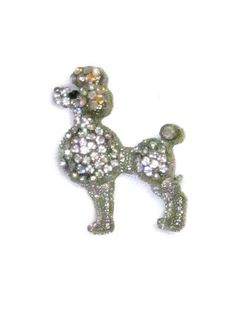 Vintage Silver Tone Poodle Dog Pin Brooch Aurora Borealis Clear Jet Black Rhinestone Pin Brooch