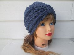 Knit Turban winter Turban hat hand knitted womens by Ritaknitsall