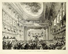 1871 Wood Engraving Art French National Assembly Queen Theater Palace YTG2