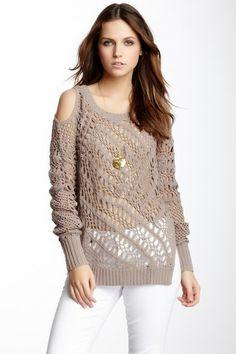 Cold Shoulder Crochet Pullover