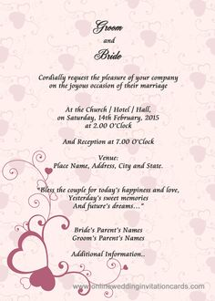 Sample Wedding Card Invitation  Invitation Card Formats