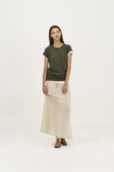 A long linen skirt with a studded fleece top #SUN68 #SS16 #woman #skirt #top