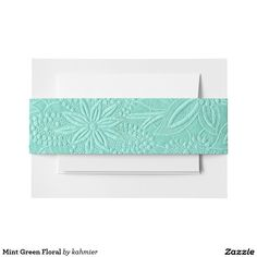 Mint Green Floral Invitation Belly Band 30% off sitewide #leatherwooddesign