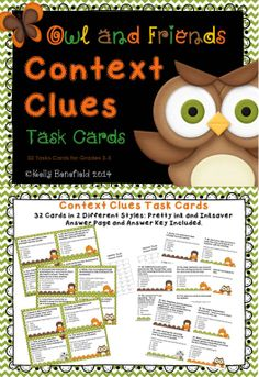 These 32 context clues task cards are perfect for helping your students with comprehension as well as improving their vocabularies. Great for centers, group work, as well as partners. These cards are perfect to use with the whole class for the game scoot. $ Reading Resources, Reading Strategies, Reading Activities, Reading Skills, Teaching Reading, Reading Comprehension, Teaching Ideas, Reading Tutoring, Learning