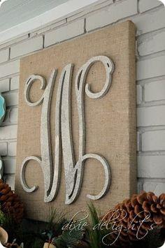 Burlap canvas wooden letter.