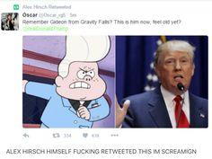 Gravity Falls, How dare compare Gideon to trump? Disney Channel, Gravity Falls Funny, Gravity Falls Theory, Grabity Falls, Fall Memes, Funny Memes, Hilarious, Reverse Falls, Trust No One