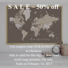 Sale - 50% off this digital download printable world map with cities that you can use for making a push pin board. Makes a great valentine's day gift for your loved one!   #valentine #valentinegift #Decor #WorldMapPoster #EarthTones #MapWithCities #InstantDownload #printable #LargeWorldMapPrintable #QuoteMap #PrintableArt #MapWithCountryNamesAndStatesNames #WorldMap