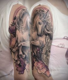 A wonderful looking unicorn sleeve tattoo. Inked in grayscale, you can clearly see the purity of the unicorn embedded on the design. It looks powerful and at the same time innocent and chaste.