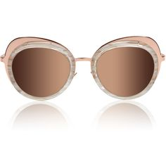 Cutler and Gross Rose Gold Eclipse Sunglasses ($755) ❤ liked on Polyvore featuring accessories, eyewear, sunglasses, mirrored glasses, white glasses, white lens sunglasses, oval glasses and mirrored lens sunglasses