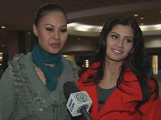 Venus Raj (left) and Shamcey Supsup were at the Miss Universe  2012 rehearsals at the Planet Hollywood Theater to support the  Philippines' bet to the pageant, Janine Tugonon.