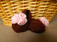 Baby Flats with Flowers -- Crochet  on Etsy, $10.00