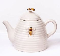 Honey Bee Hive Beehive Teapot, 6.25 Inch, White with Bees: Amazon.com: Kitchen & Dining