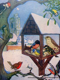 1961 CHRISTMAS ROBIN BIRDS Print Ideal for Framing by sandshoevintageprint on Etsy