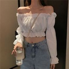 Pobblebonk Off-Shoulder Long-Sleeve Crop Top Teen Fashion Outfits, Girly Outfits, Cute Casual Outfits, Pretty Outfits, Fashionable Outfits, Work Outfits, Fashion Clothes, Korean Girl Fashion, Ulzzang Fashion