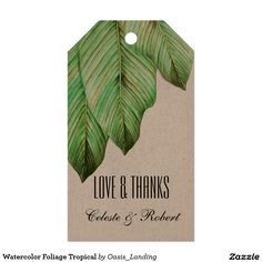 "Watercolor Foliage Tropical Gift Tags - A modern tropical watercolor foliage gift tag design featuring beautiful banana leaves. Perfect for a beach or destination wedding, bridal shower, bachelorette party, or other occasions to use as favor tags. Shown here as a wedding favor ""thank you"" tag, you can edit the text as you like and use for any occasion. Sold at Oasis_Landing on Zazzle."
